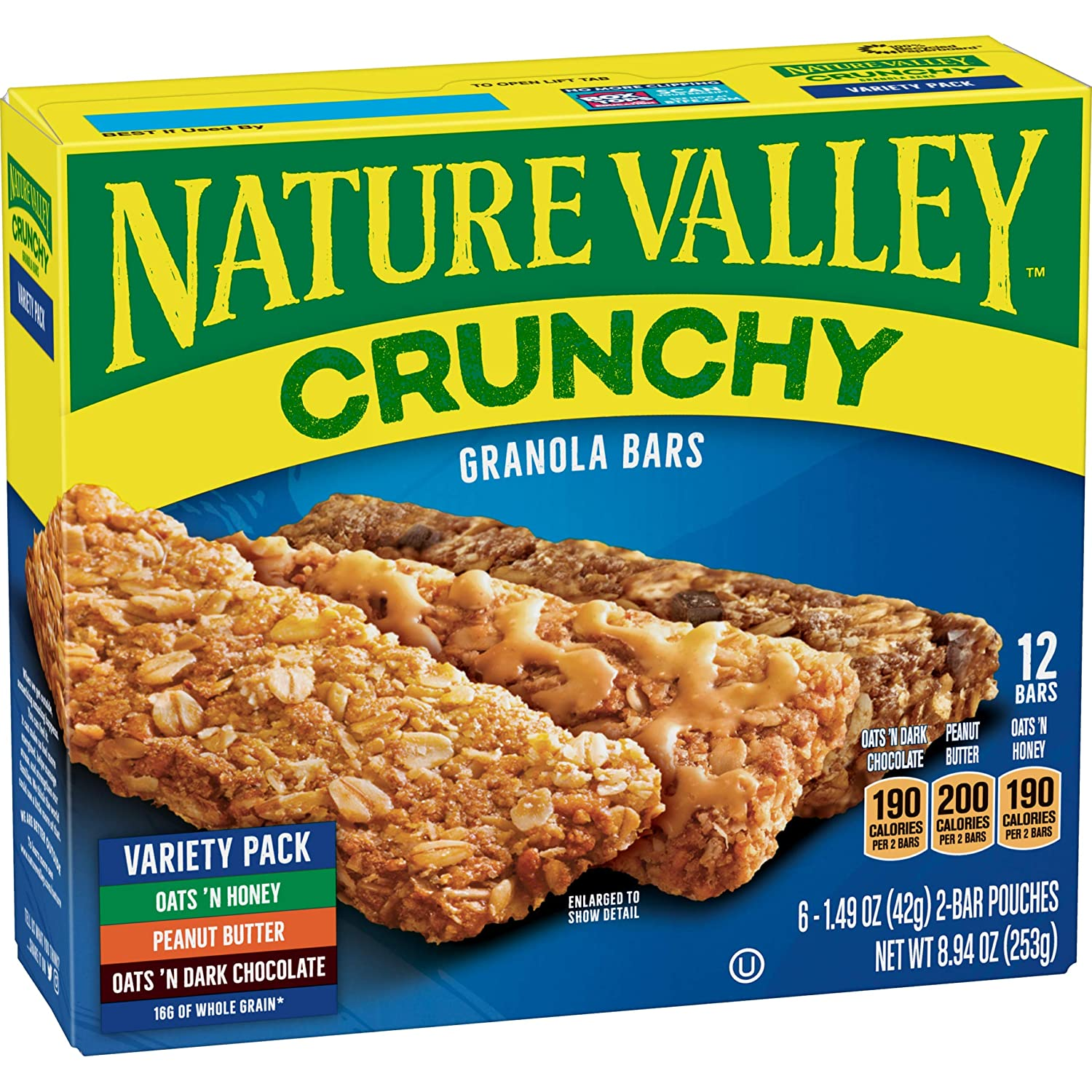 Nature Valley Granola Bars, Crunchy, Variety Pack of Oats 'n Dark Chocolate, Peanut Butter, Oats 'n Honey, 12-Bars Per Box (Pack of 6)