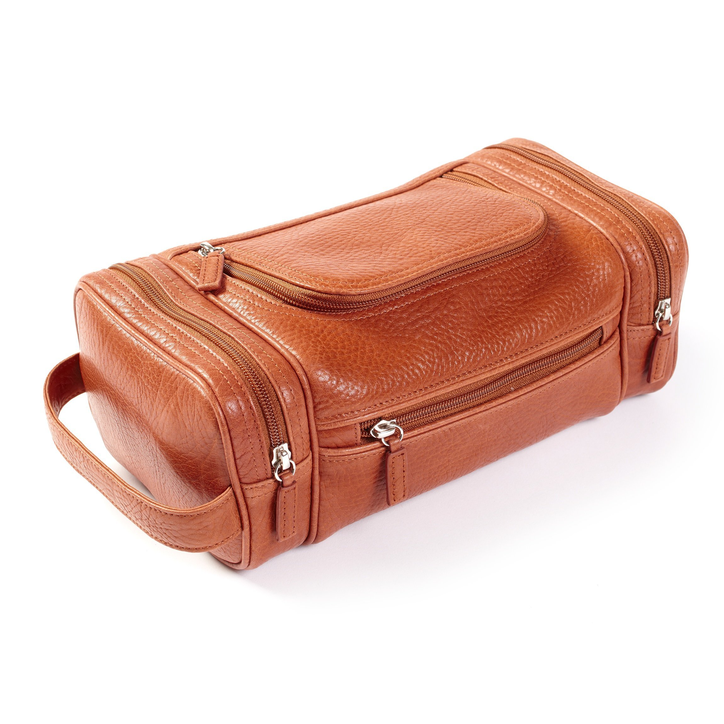 Multi Pocket Toiletry Bag - Italian Leather - Whiskey (brown)