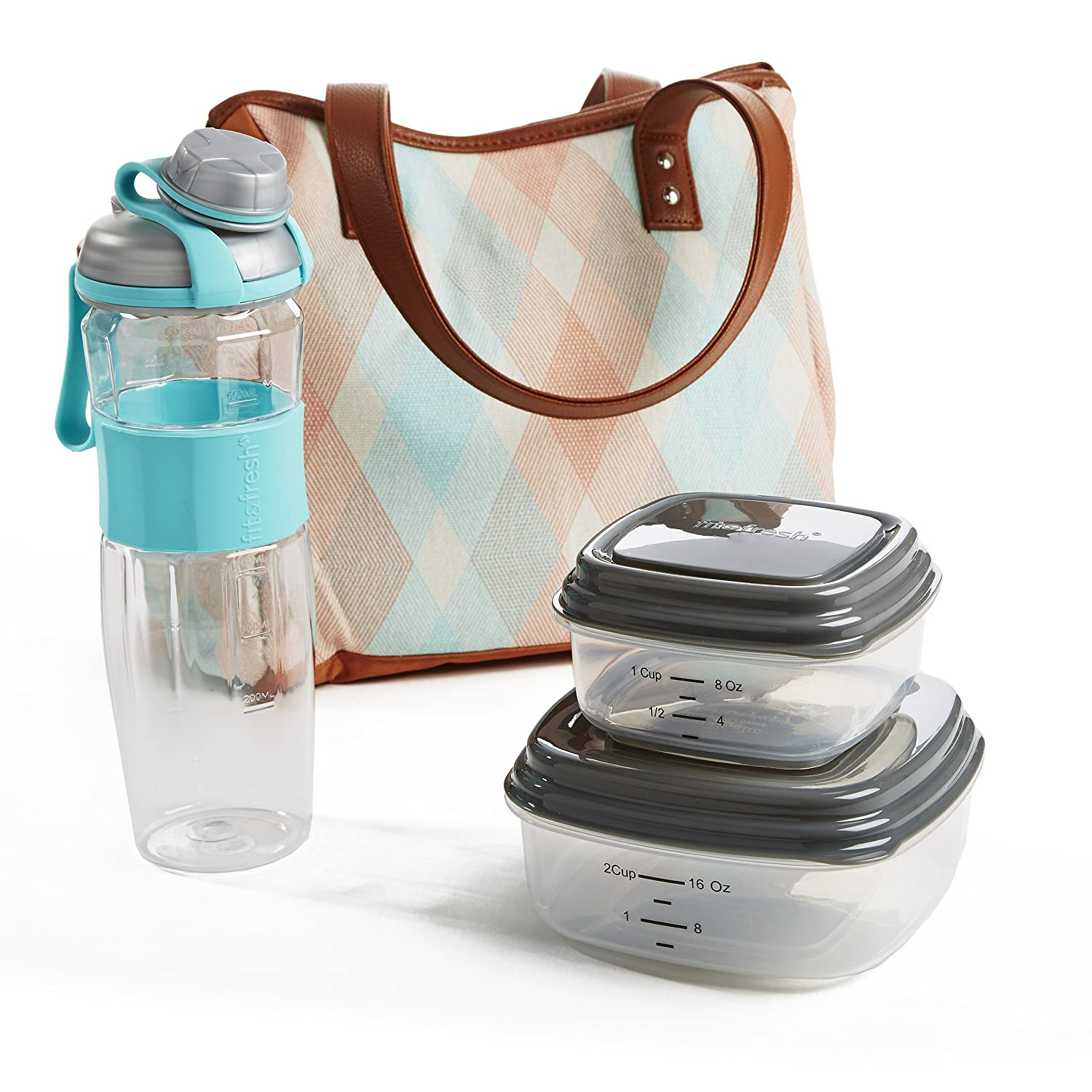 Fit & Fresh Ladies' Westerly Insulated Lunch Bag Set with Reusable Containers and 20 oz. Matching Water Bottle, Zipper Closure, Pocket (Aqua Stamped Rings)