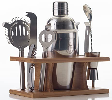 stock harbor 9 piece stainless steel bartender set with bamboo base kitchen accessories cocktail bar tool amazon com   stock harbor 9 piece stainless steel bartender set      rh   amazon com