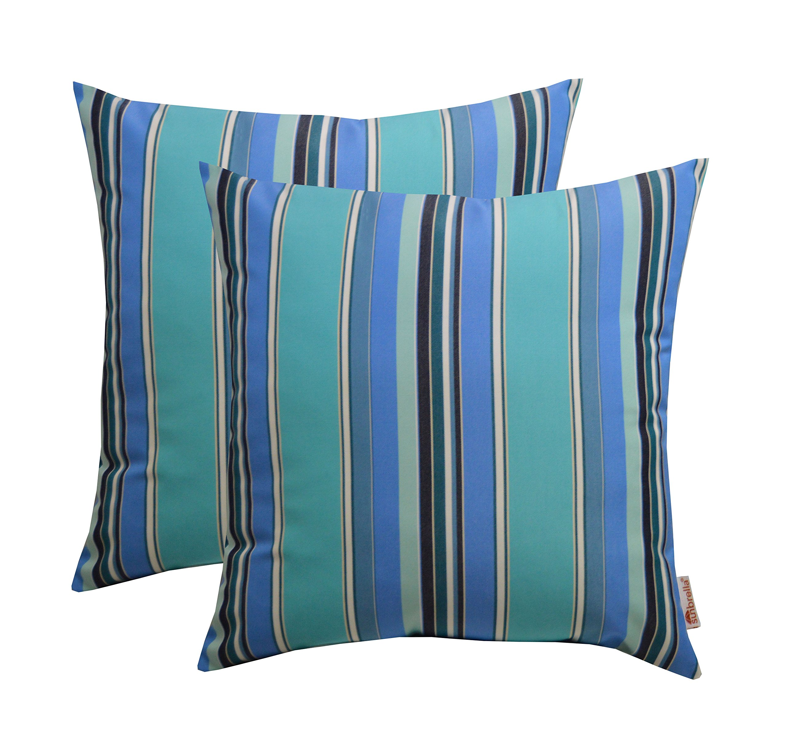 Sunbrella Set of 2 Dolce Oasis - Blue Teal Navy White Stripe - In/Outdoor Square Throw/Toss Pillows (20'' x 20'') 1101