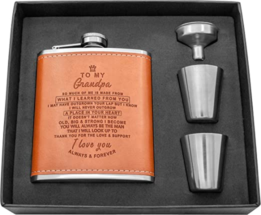 Xmas 6oz Leather Personalised Hip Flask Set 2 cups Gift Box Dad Grandad