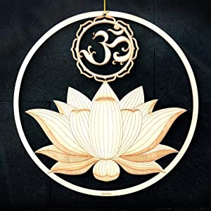 "ZenVizion 13.5"" Sacred Lotus Wall Art, OM Symbol, Sacred Geometry Home Decor, Meditation Yoga Hanging Artwork, Laser Cut Wooden Wall Sculpture, Wealth, Prosperity, Abundance, Gift"
