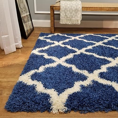 Shag Area Rug 7×10 New Moroccan Trellis Sapphire Blue Shag Rugs for Living Room Bedroom Nursery Kids College Dorm Carpet by European Made MH10 Maxy Home
