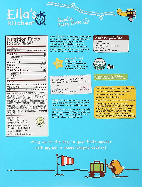 Ella\'s Kitchen Organic Toddler Cookies, Oat and Honey, 6 ct: Amazon ...