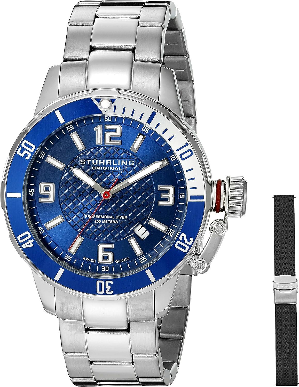 Stuhrling Original Men s 676.02.SET Aquadiver Quartz Date Bracelet and Rubber Strap Set Blue Dial Watch