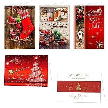 Weihnachtskarten Exklusiv.Weihnachtskarten Set 5 X 20 Motive 100 Exklusive Klappkarten Mit