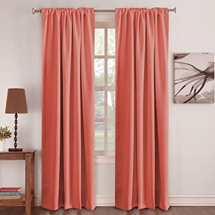 Turquoize Solid Blackout Thermal Insulated Curtains Pair Back Tab Rod Pocket Energy Efficiency