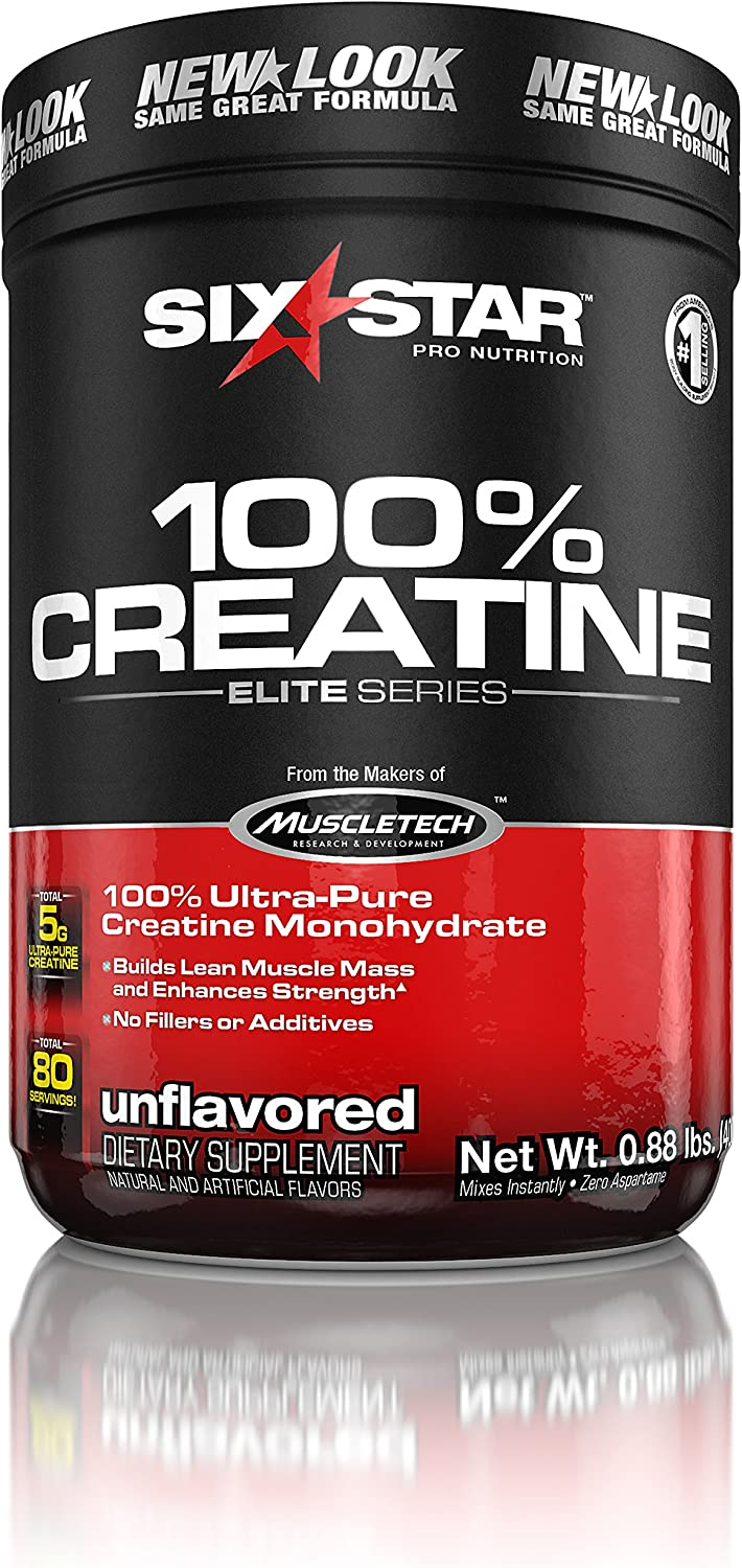 Creatine Monohydrate Powder Mass Gainer | Six Star Elite | Post Workout Recovery Drink | 100% Micronized Creatine Powder | Muscle Recovery + Muscle Builder for Men & Women, Unflavored (80 Servings): Health & Personal Care