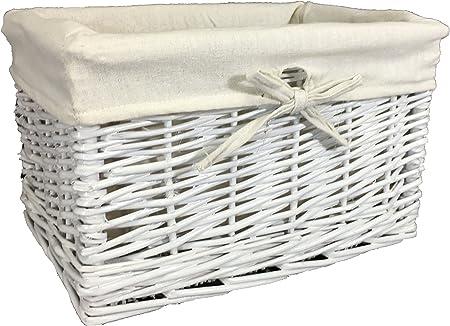 Cesta de mimbre pintada en blanco. Forro extraíble lavable. Estante decorativo solución de almacenamiento. Almacenamiento ecológico ideal para esquinas, ropa, juguetes, zapatos, mantas, ropa de cama, regalos, tela, Blanco, 34 cm: Amazon.es: