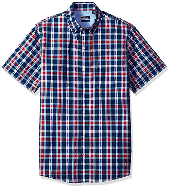 8fe0de768d6 Izod Mens Saltwater Breeze Plaid Short Sleeve Shirt Button Down ...