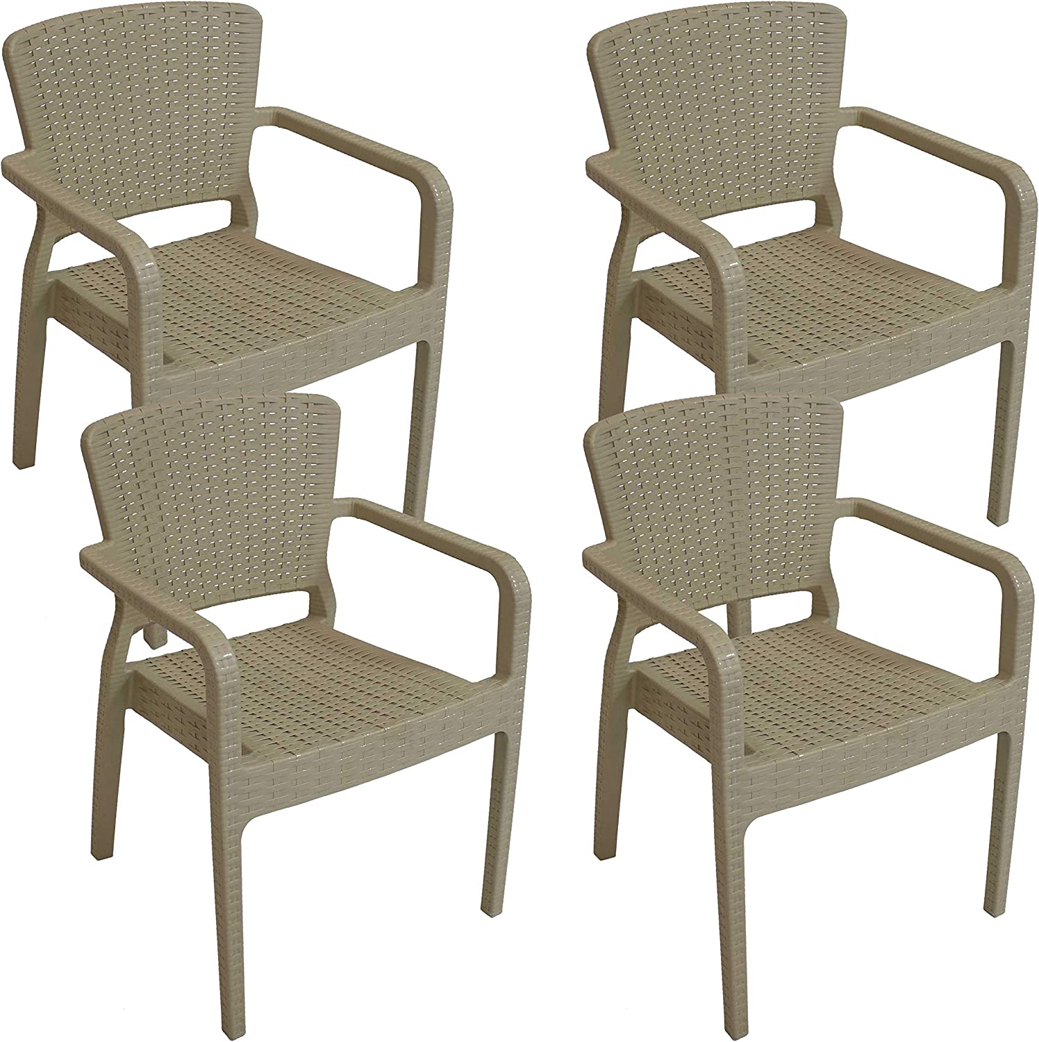 Sunnydaze Segonia Plastic Outdoor Dining Chair - Faux Wicker Rattan Design  Armchair - Commercial Grade All-Weather Patio Lawn and Garden Chair -