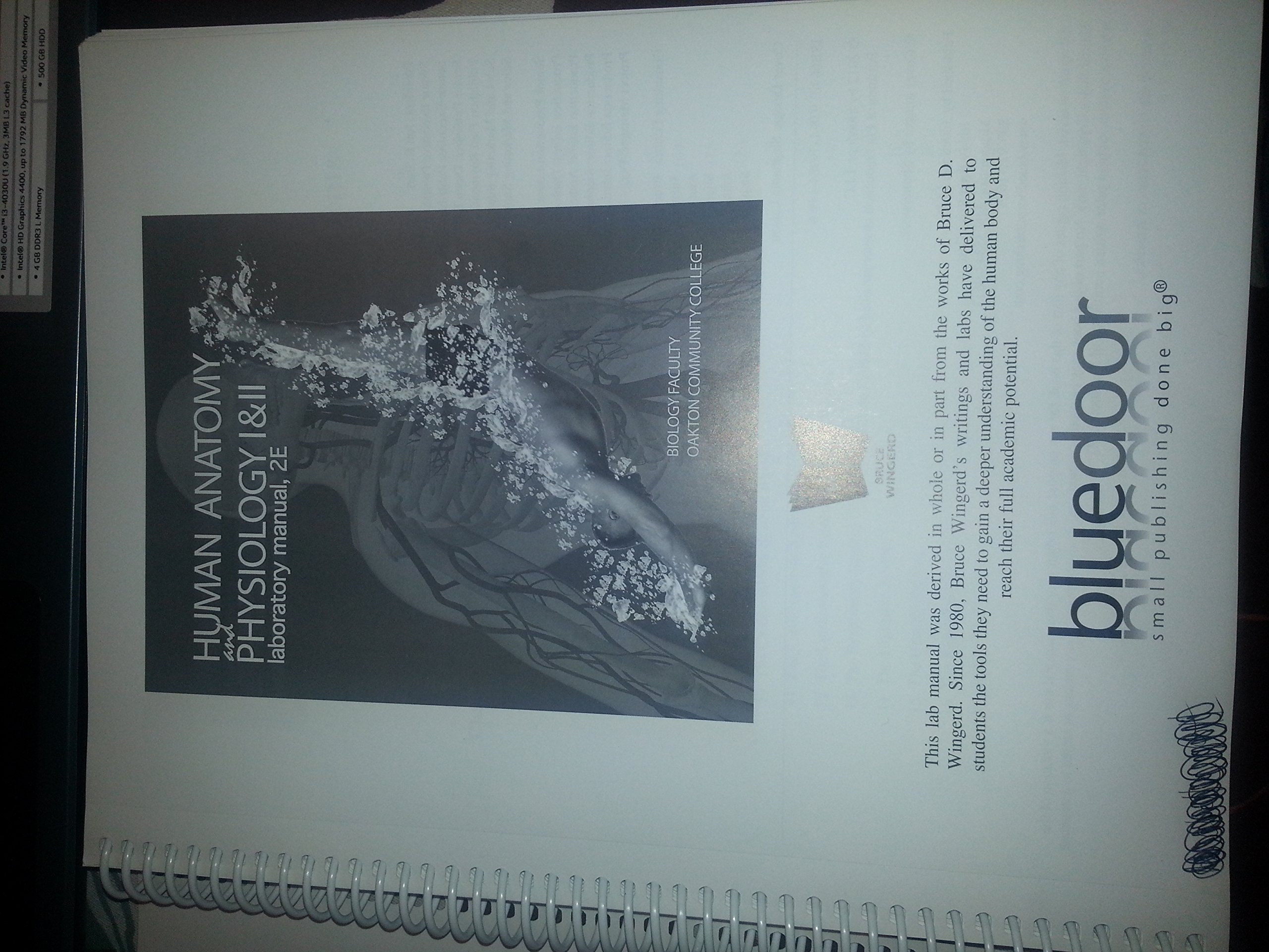 Human Anatomy and Physiology I & II laboratory manual, 2E: Bruce D ...
