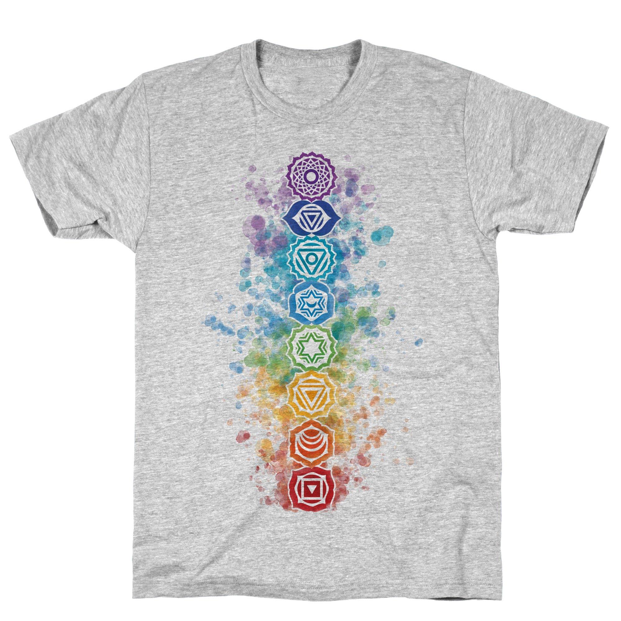 Watercolor Chakra Symbols Athletic Gray S Ts Shirts