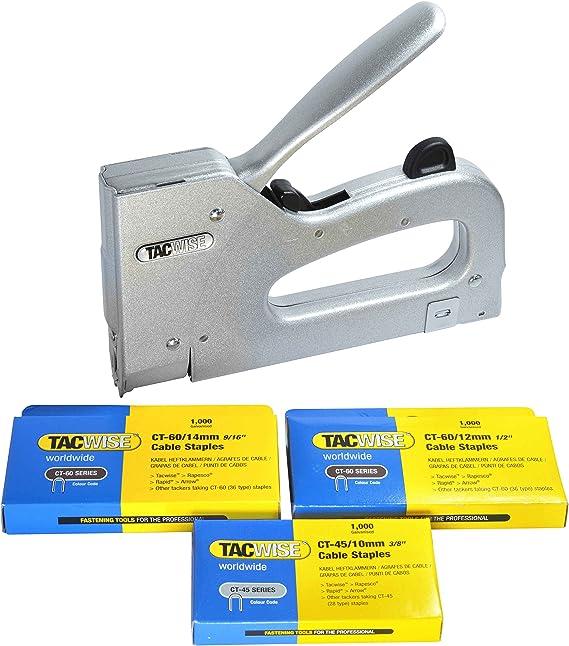 Tacwise Combi - Grapadora metálica para cables de tipo CT-60 y CT-45 mas 3000 grapas de varios tamaños