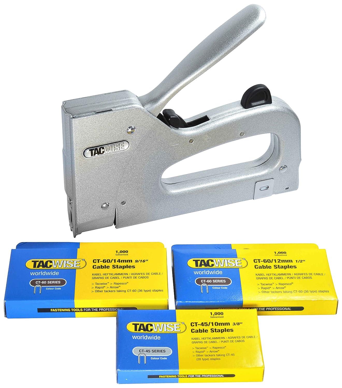 Tacwise Combi - Grapadora metálica para cables de tipo CT-60 y CT-45 mas 3000 grapas de varios tamaños: Amazon.es: Oficina y papelería