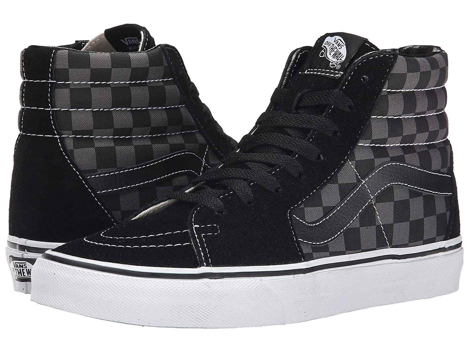 VANS MENS SK8 HI REISSUE LEATHER SHOES B0763CC55F 40 M EU / 7.5 D(M) US|Black/Pewter Checkerboard
