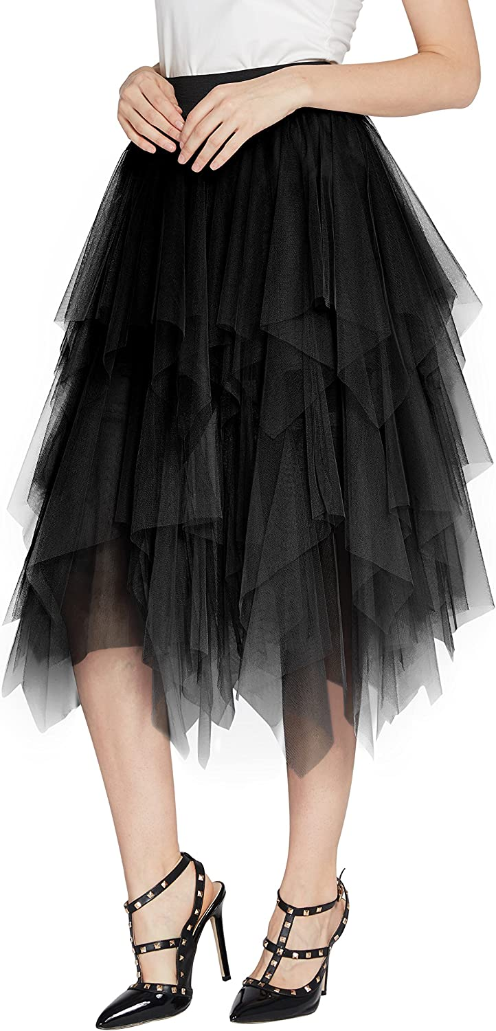Womens Elegant Mesh Layered Tulle Skirt Sheer Tutu Skirt Midi Dress