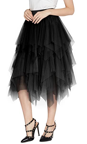bd9ed476c3 Urban CoCo Women's Sheer Tutu Skirt Tulle Mesh Layered Midi Skirt (S, Black)