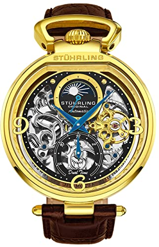 Stührling Original 127A2 - Esfera analógica para hombre (automático, dial de esqueleto, hora
