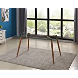"""IDS Online Mid Century Glass Dining Table With Foot Pad, Office Desk, Size 51.18"""" X 31.50"""" X 29.53"""", Wooden Skin"""