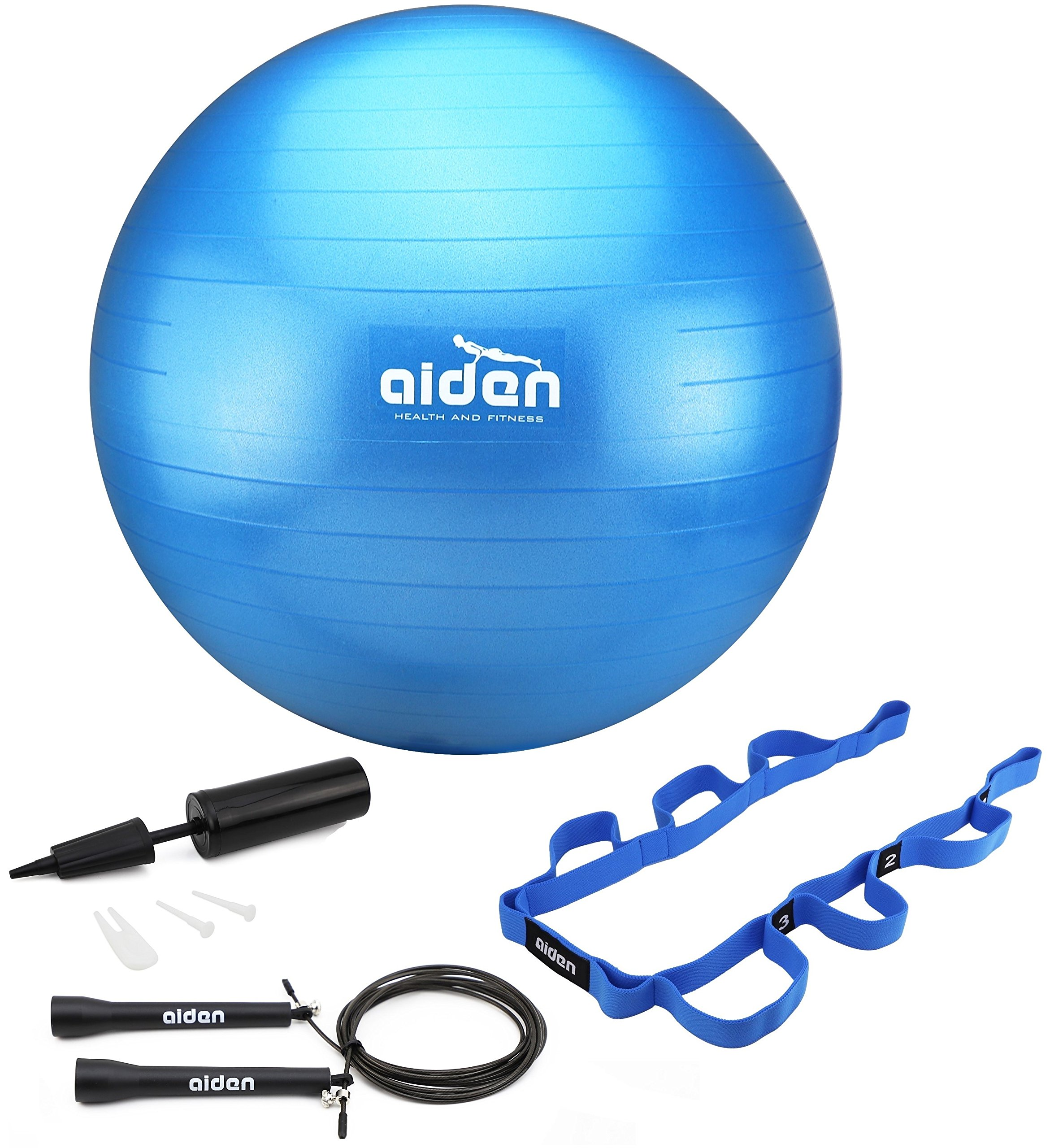 OLIVIA & AIDEN Exercise Ball Set- Includes Yoga Ball, Pump, Exercise Jump Rope (Speed Rope) and Stretch Band - Get Trim, Fit and Healthy With This Home Workout Set