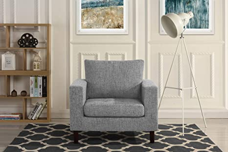 Amazon.com: Modern Tufted Linen Fabric Armchair, Living Room ...