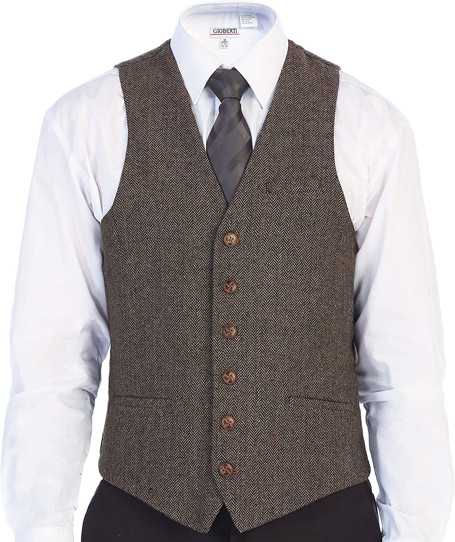 Gioberti Men's 6 Button Slim Fit Formal Herringbone Tweed Vest