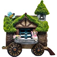 TERESA'S COLLECTIONS Flocked Wagon Garden Statues Fairy House, Outdoor Statues with Solar Powered Garden Light, Garden…