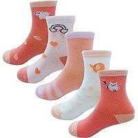 Cczmfeas Calcetines de niña Calcetines de Animal algodón con textura gruesa 5 pares de calcetines