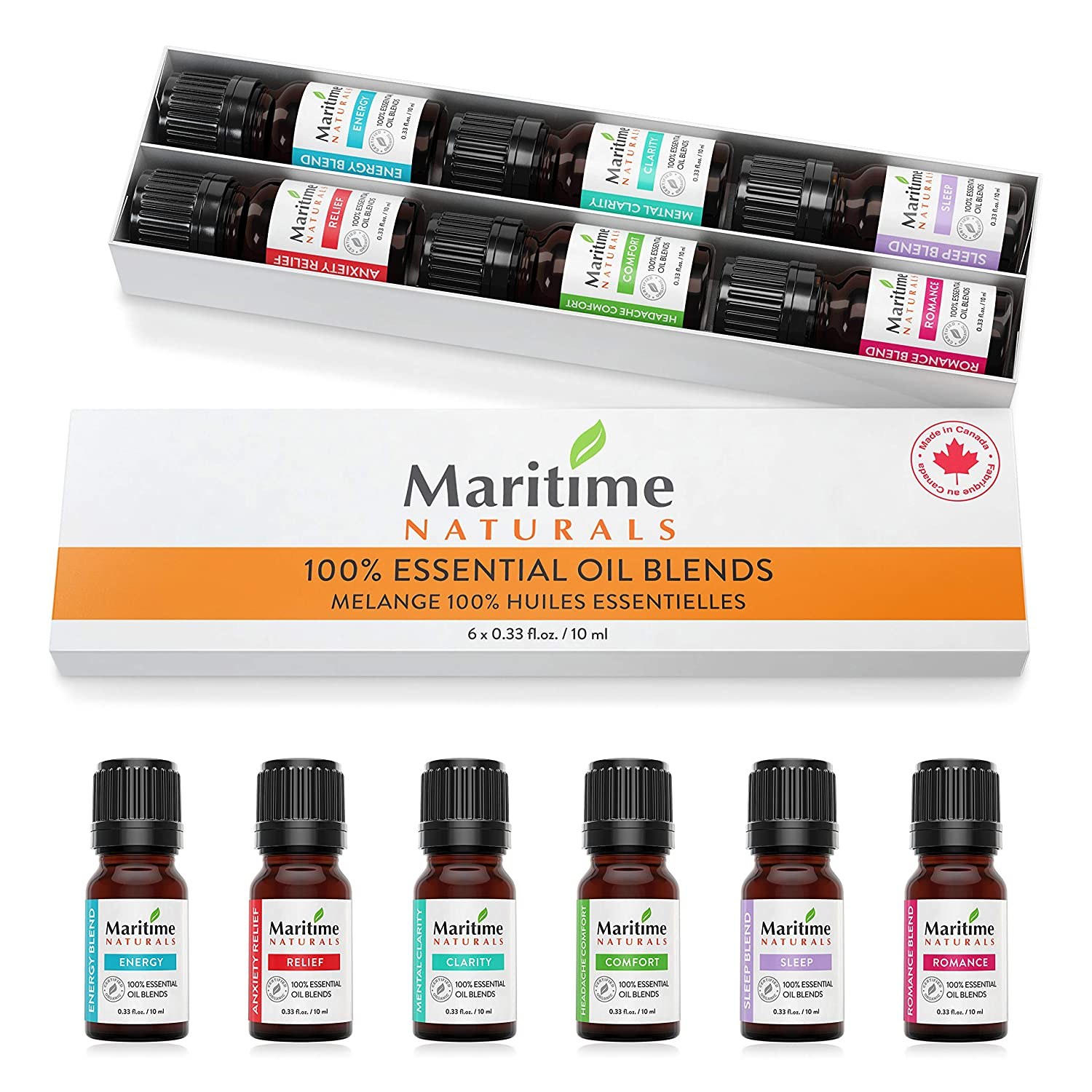 Essential Oils Blends Aromatherapy Kit - Maritime Naturals (Pack of 6)