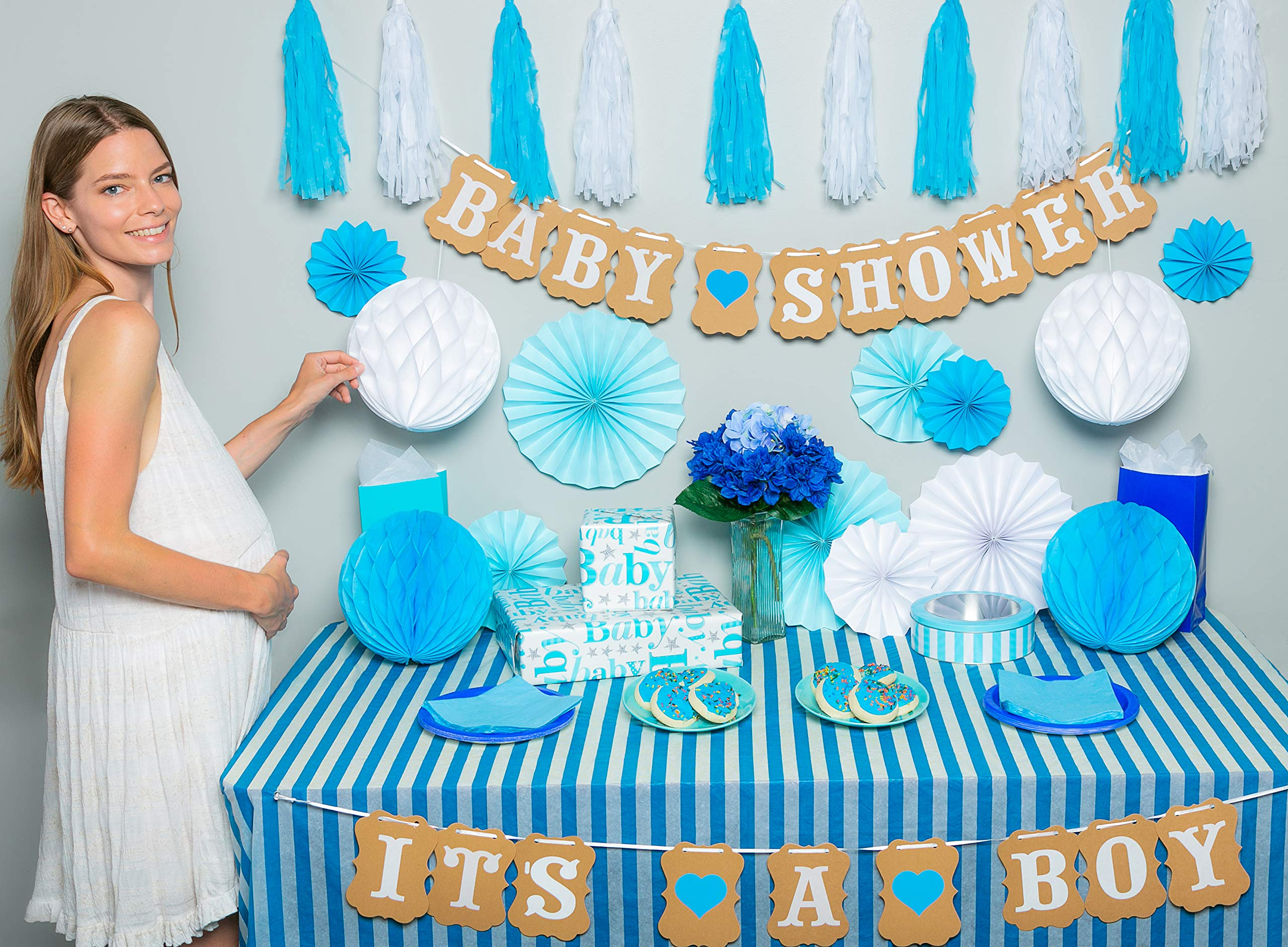 Premium baby shower decorations for boy Kit | It's a boy baby shower decorations with striped tablecloth, 2 banners, paper fans, and honeycomb balls | complete baby shower set for a beautiful baby boy by TeeMoo (Image #1)
