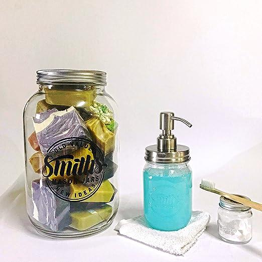 1 gallon jarra de cristal con tapa de plástico y Metal por Roger Lascelles Mason tarros: Amazon.es: Hogar
