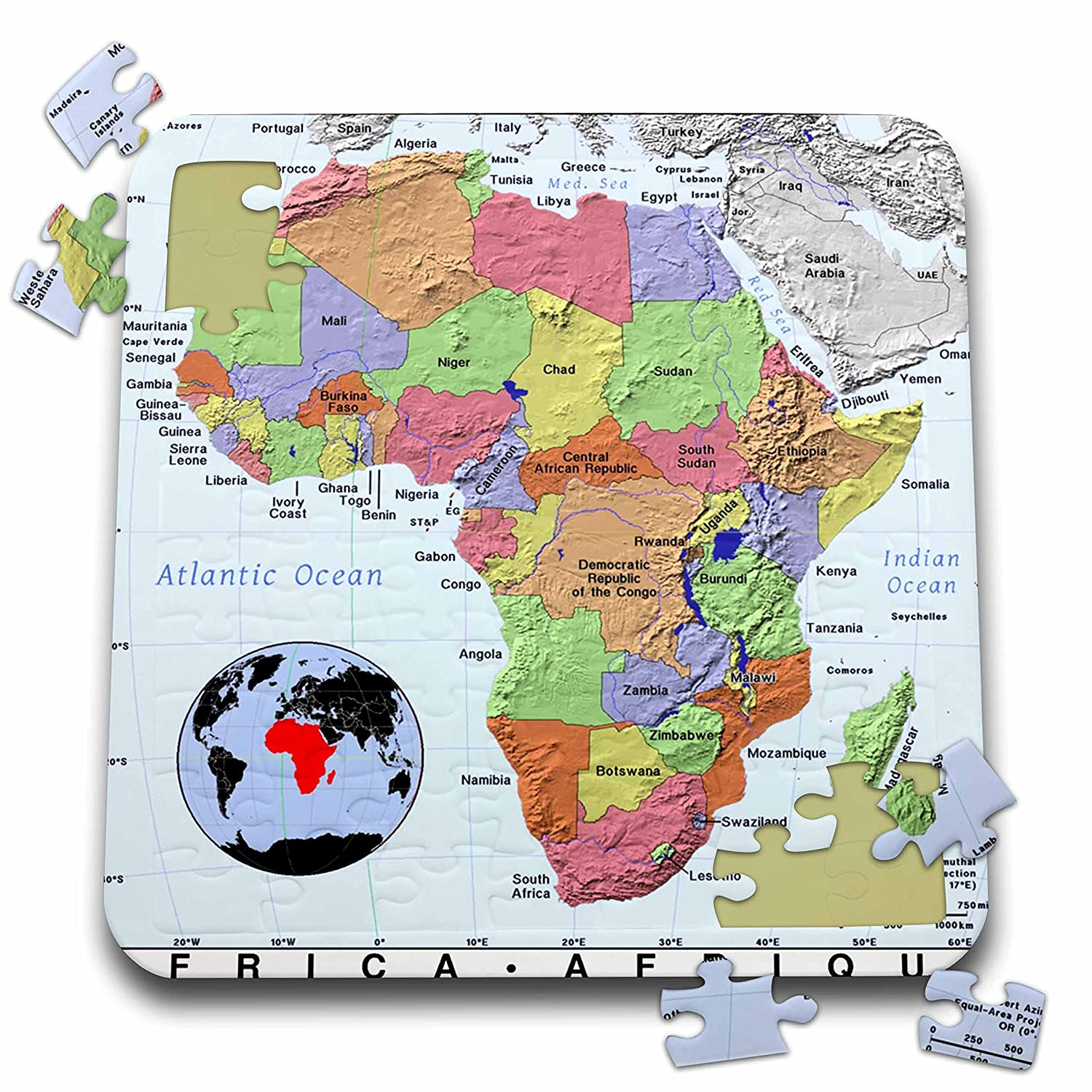 Modern Map Of Africa.Amazon Com Florene Modern Maps Image Of Topographic Map