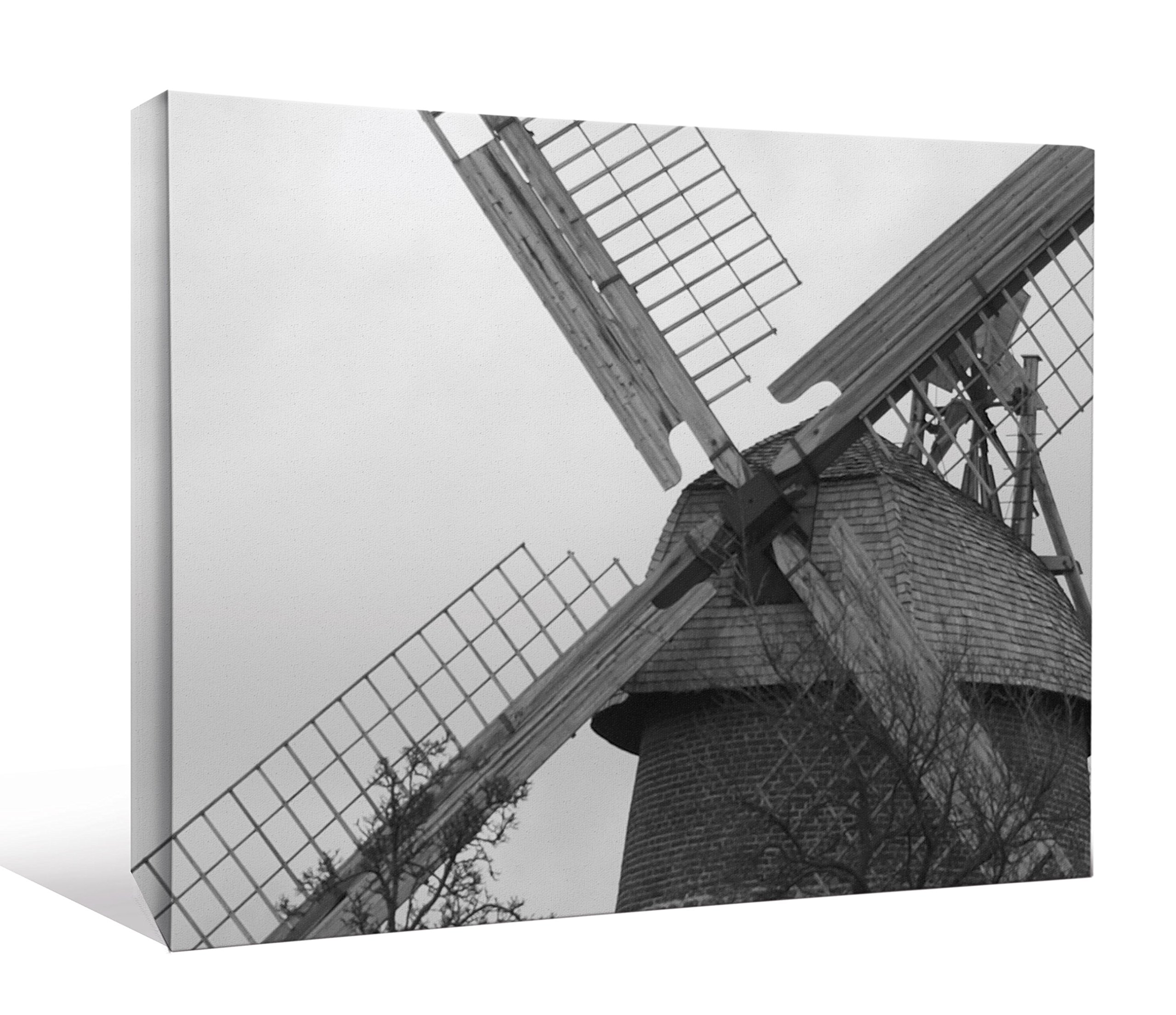 JP London DDCNV2033 Ready to Hang Feature Wall Art 2'' Thick Heavyweight Gallery Wrap Canvas Natural Windmill Power At 60'' Wide by 40'' High