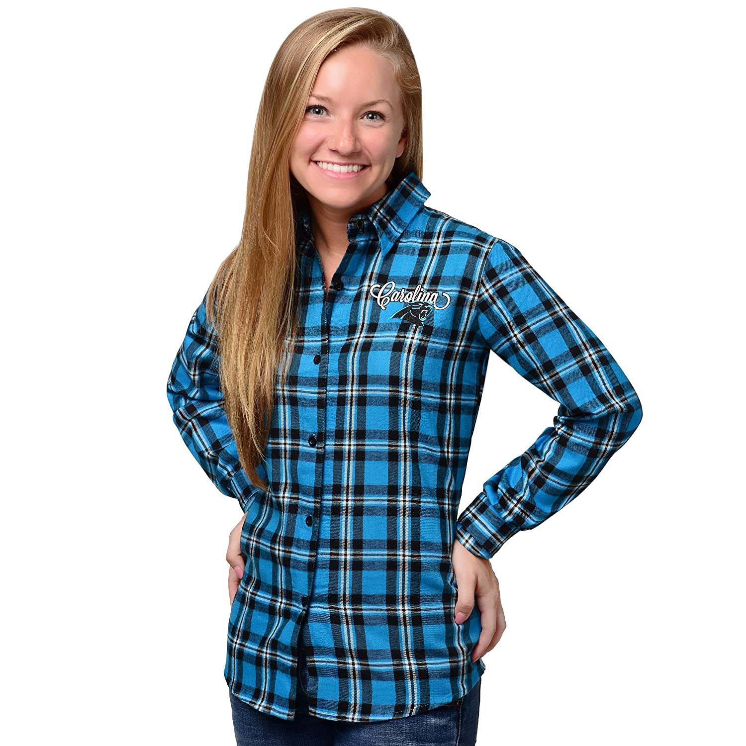 Forever Collectibles NFL Womens 2016 Wordmark Basic Long Sleeve Flannel Shirt