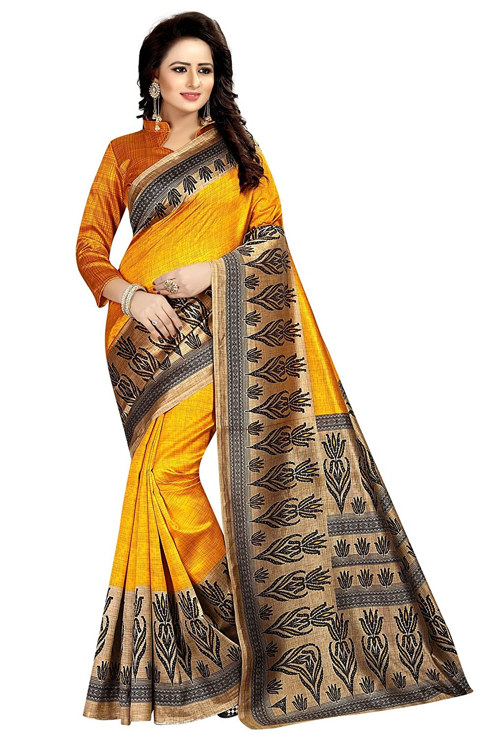 Shonaya Women`S Designer Yellow Colour Cotton Silk Printed Saree CHRISTMAS-YELLOW