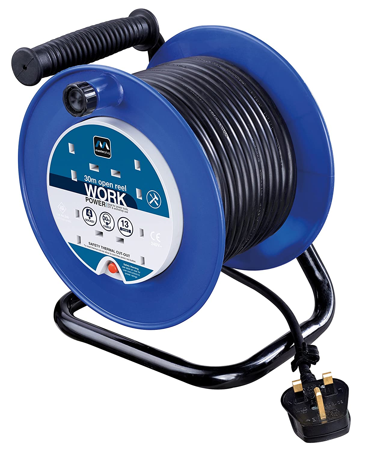 Masterplug Four Socket Medium Open Cable Reel Extension Lead with Handle,  30 Metres, Blue