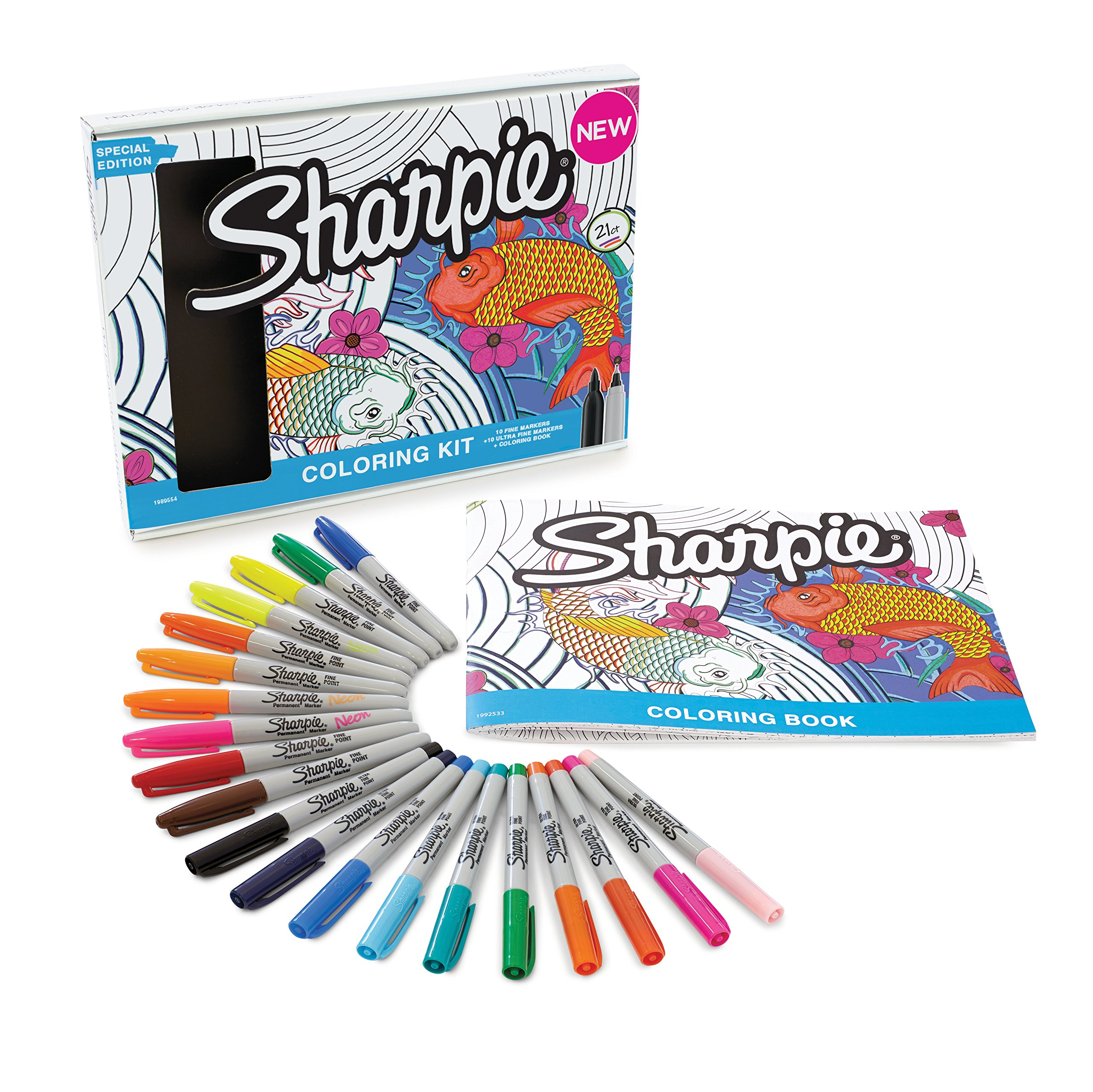 Sharpie 1989554 Permanent Markers, 10 Fine & 10 Ultra-Fine Tip, Assorted Colors with Aquatic-Themed Adult Coloring Book