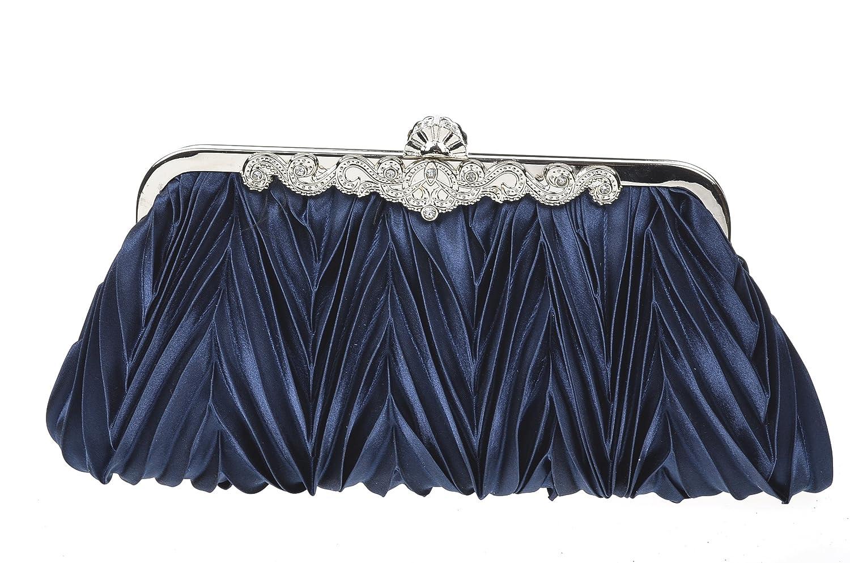 Damara Abendgesellschaft Damen Brauttasche Satin Clutch, Navyblau 10464011