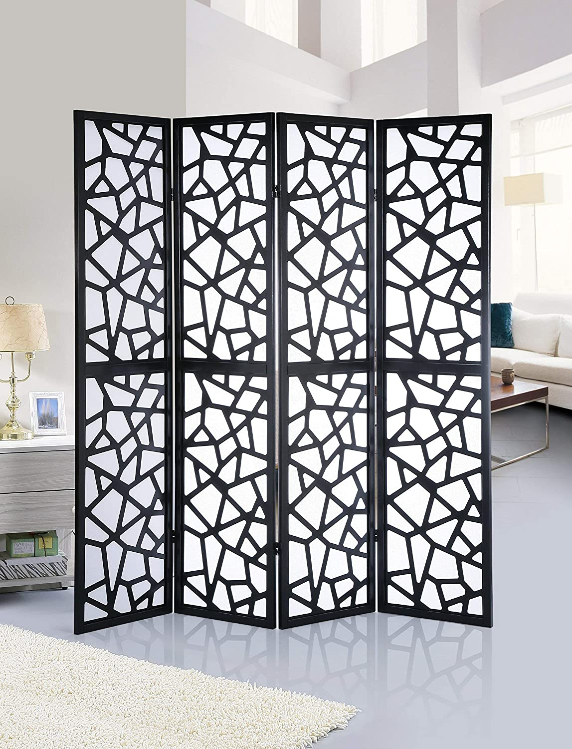 Roundhill Furniture Giyano 4 Panel Wood Frame Screen Room Divider, Black