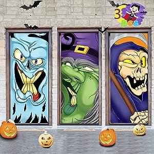 JOYIN 3 PCS Halloween Decoration Reaper, Monster, Witch Halloween Door Cover, Window and Wall Cover Indoor Outdoor Decoration