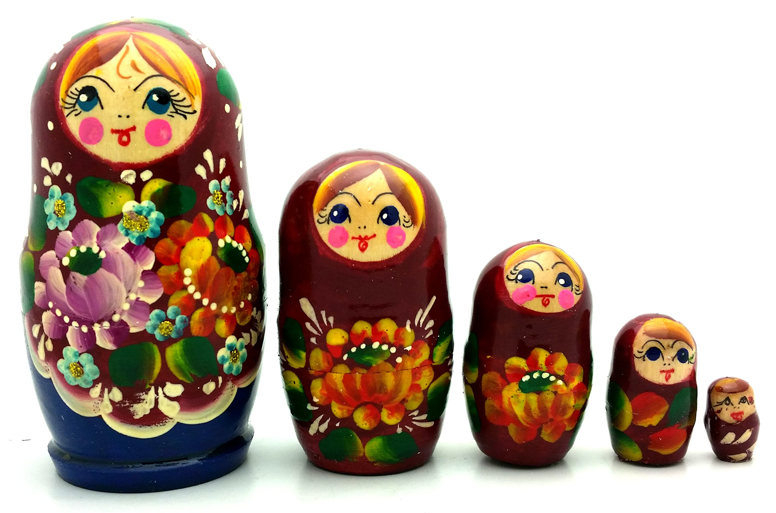 Lot of 3 Sets Russian Traditional Nesting Stacking Wooden Dolls Each Matryoshka Babushka set contains 5 dolls by BuyRussianGifts (Image #4)