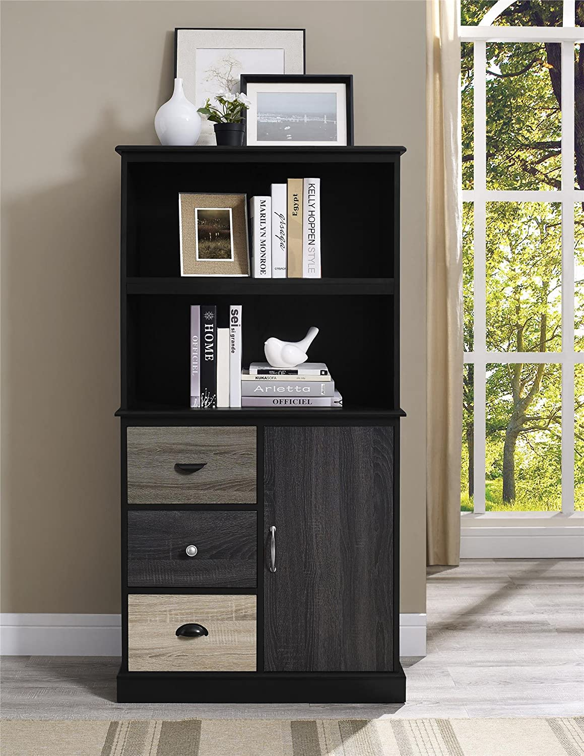 Charmant Amazon.com: Ameriwood Home Mercer Storage Bookcase With Multicolored Door  And Drawer Fronts, Black: Kitchen U0026 Dining