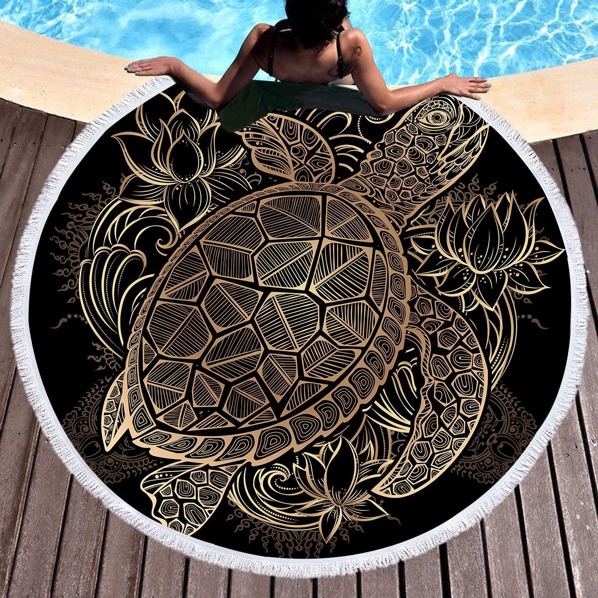 Sleepwish Gold Beach Towel, Round Beach Towel Blanket with Tassels, Boho Round Tapestry, Circle Beach Mats (Turtle Floral, 60'')