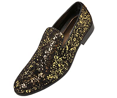 Men's Black Smoking Slippers Loafers With Gold Metallic Splatter Slip-on Party Dress Shoes