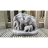 Éléphants thaïlandais famille–à la main en pierre pour décoration de jardin/Statue/Sculpture