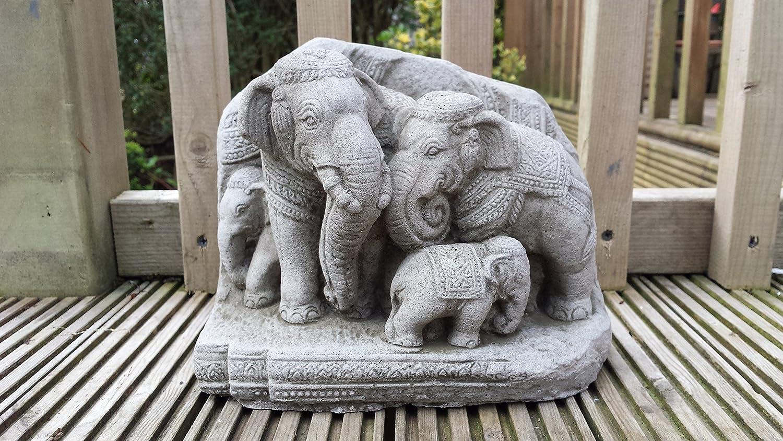 Garden Ornaments by Onefold AN30 Thai Elephants Family Stone Garden Ornament, Grey ,13x23x18 cms