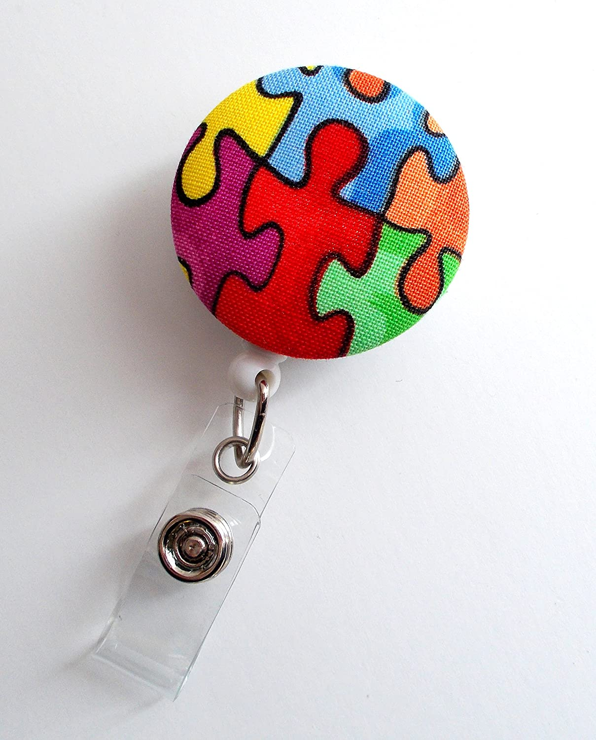 Cute ID Badge Reel Retractable ID Badge Holder Autism Awareness Puzzle Button Name Tag Holder Nursing Badge Clip