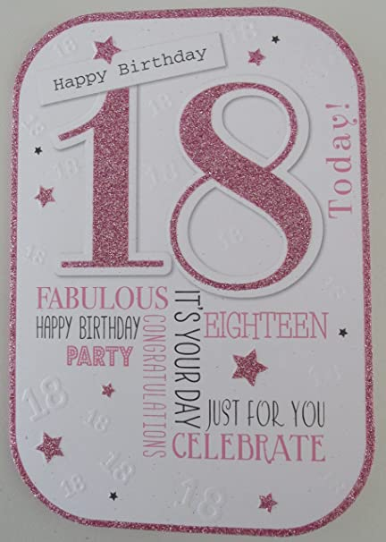 Las niñas 18 cumpleaños tarjeta - rosa con purpurina 18 ...